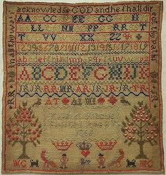 MID-19TH-CENTURY-ALPHABET-FIGURE-MOTIF-SAMPLER-BY-MARGRET-RITCHIE-1856