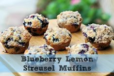 Blueberry Lemon Streusel Muffins that taste amazing! Great for fresh picked blueberries but great with frozen ones too! Recipe can be found on momspotted.com
