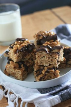 Chocolate and Peanut Butter Caramel Chex Bars   Girl Cooks World