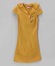 Look at this #zulilyfind! Mustard Hooded Cap-Sleeve Sweater Dress - Girls #zulilyfinds