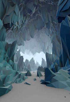 Low Poly stylized cave showing depth and colour: