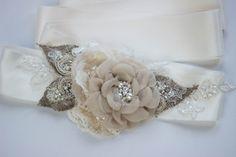 Rustic Bridal sash, wedding belt, burlap sash, Vintage champagne beige ivory creamy natural tan flowers shabby chic rhinestone accessory