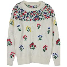 White Embroidered Floral Knit Sweater (120 AUD) ❤ liked on Polyvore featuring tops, sweaters, white, floral knit top, floral print sweater, floral sweater, flower print sweater and embroidery top