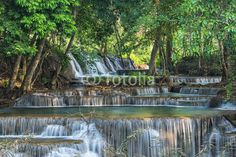 Huay Mae Kamin waterfall. Located at the Kanchanaburi province, Thailand