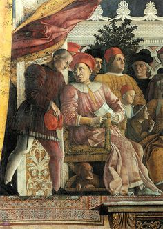 """Andrea Mantegna,The Camera degli Sposi (bridal chamber), (1465-1474),  Ducal Palace, Mantua.The Camera degli Sposi (""""bridal chamber""""), sometimes known as the Camera picta (""""painted chamber""""), is a room frescoed with illusionistic paintings by Andrea Mantegna in the Ducal Palace, Mantua, Italy. It was painted between 1465 and 1474 and commissioned by Ludovico Gonzaga, and is notable for the use of trompe l'oeil details and its di sotto in sù ceiling."""