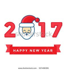 Smile Santa Claus character with red ribbon Happy new year. Funny and cute flat Santa Claus character cartoon on white background. Happy new year 2017 poster