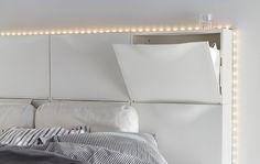 Sei scarpiere TRONES bianche usate per creare una testiera del letto - IKEA