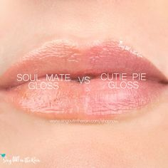 Compare Soul Mate vs. Cutie Pie LipSense Gloss using this photo.  Soul Mate Gloss is part of the Candy Hearts Scented LipSense Collection by SeneGence.