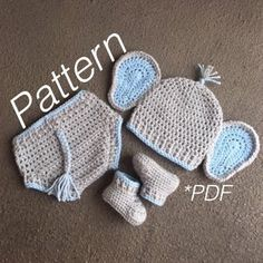 Crochet Baby Costumes, Crochet Baby Clothes, Newborn Crochet, Crochet Elephant Pattern, Crochet Patterns Amigurumi, Crochet Hats, Newborn Elephant, Elephant Hat, Cowboy Baby Clothes