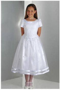 One of our favorite dresses for my son's rechristening as Emily Grace Girls First Communion Dresses, Holy Communion Dresses, Baptism Dress, Little Girl Dresses, Girls Dresses, Flower Girl Dresses, Frock Design, Cute White Dress, Lovely Dresses