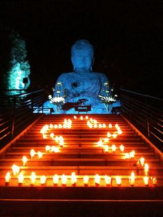 The Great Buddha in Kobe, Japan lit in blue in honor of World Autism Awareness Day. :'-)