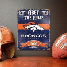 Vintage Metal Sign - Denver Broncos