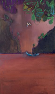 Peter Doig - Pelican Island, Oil on canvas, 120 x 70 cm. Peter Doig, Art Sculpture, Art Graphique, Art Design, Contemporary Paintings, Oeuvre D'art, Painting Inspiration, Painting & Drawing, Bunt