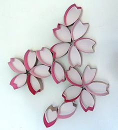 Toilet paper roll cherry blossom wall art
