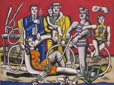 Leisure on red background, 1949 - Fernand Leger Pablo Picasso, Gif Sur Yvette, Cap Martin, Madonna Art, Bo Bartlett, Georges Braque, Cycling Art, Adam And Eve, Bike Art