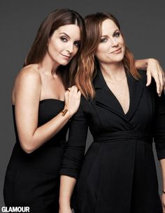 Stars of the new film 'Sisters', Tina Fey and Amy Poehler, land the January 2016 cover of Glamour Magazine. Both dress in black pants look… Beautiful Celebrities, Most Beautiful Women, Beautiful People, Perfect People, Amazing Women, Freya, Lumpy Space Princess, Amy Poehler, Glamour Magazine