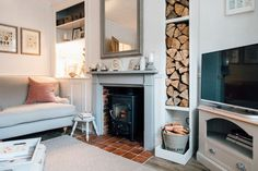 Country living room decor modern country living room modern country sitting room wood burner and log Victorian Living Room, Cottage Living Rooms, Living Room Shelves, Home Living Room, Living Room Designs, Living Room Decor, Alcove Storage Living Room, Living Room Ideas Uk, Log Burner Living Room