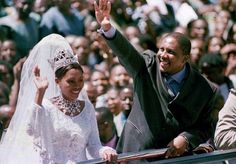 King Letsie III of Lesotho and his new bride, Karabo Motsoeneng wedding Feb 18, 2000