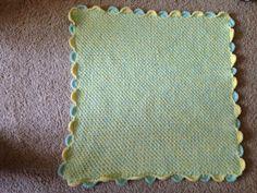 Double yarn alternating shells crochet baby blanket