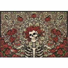 "GRATEFUL DEAD BERTHA SKELETON AND ROSES TAN FLEECE THROW BLANKET 45""X60"" NEW"