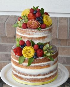 Semi Naked Cake with fruit flowers - Cake by Lisa Herrera (A Cake Come True)