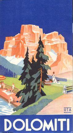 """brochure turistica per la Dolomiti pubblicata dalla SAD - Società Automobilistica Dolomiti, 1938. Firmato """"De Zulian,"""" progettato dal """"Istituto Geografico de Agostini - Novara."""""""