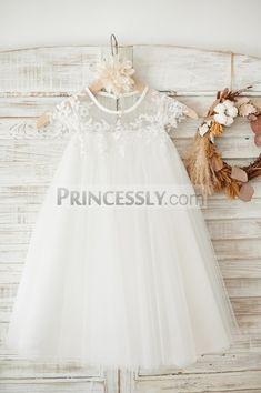 6d5fe1958ef Boho Beach Sheer Neck Ivory Tulle Lace Wedding Flower Girl Dress SKU   K1003874 Buy Now