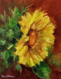 Southern Kitchen Sunflower and a Louisiana Workshop and What Happens in the Cloud Stays in the Cloud by Floral Artist Nancy Medina, painting by artist Nancy Medina