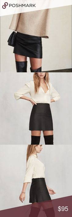 Reformation Cienega skirt Brand new leather skirt from Reformation. No tags but it's never been worn ! Comment with questions! Reformation Skirts Mini