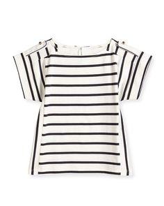 Z1E7J Chloe Striped Short-Sleeve Tee, Navy/White, Size 8-14