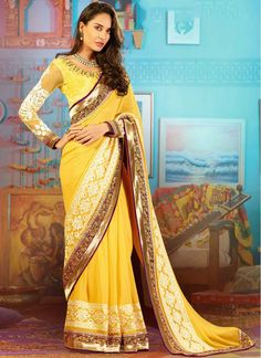 Faux Georgette Yellow Colored Party Wear Saree