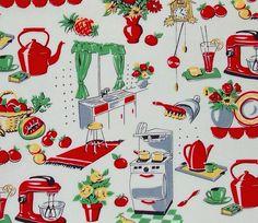 Michael Miller Fabric Fifties Kitchen Creme by HomeGrownPillows, $8.25
