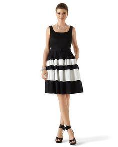 White House | Black Market Sleeveless Black and White Sundress #whbm