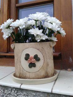 Květináč Nylon Flowers, Ceramic Vase, Polymer Clay, Planter Pots, Pottery, Sculpture, Crafts, Clays, Wooden Crafts
