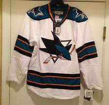 San Jose SHARKS Authentic Jersey-White NHL StitchedJersey by Reebok-Size 46 - 54