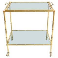 Faux Bamboo Brass Bar Cart with Removable Tray | From a unique collection of antique and modern bar carts at https://www.1stdibs.com/furniture/tables/bar-carts/