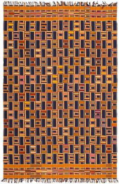 Antique African Ewe Kente - early C 20 - Alternating patterns that feature varying proportions and variable colors are placed at staggered intervals where they create a magnificent checkerboard pattern. The result is a gorgeous patchwork visage. However, the symbolism is much deeper...This exceptional kente textile showcases a formal symmetric composition that incorporates consistent hues of rich navy blue and bold saffron yellow, which represent harmony and abundance.