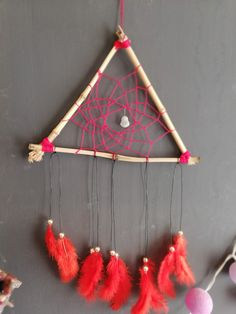 Red deamcatcher made with bamboo with jade Buddha and feathers Dreamcatchers, Feathers, Jade, Buddha, Bamboo, Etsy Seller, Create, Unique, Handmade