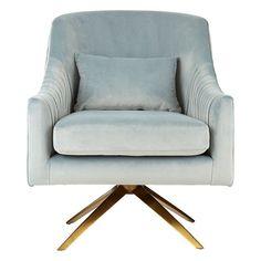 Parmelee Upholstered Velvet Bedroom Chair In Blue Finish