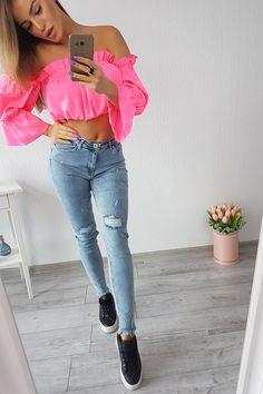Nová dámska blúzka hispanka neon ružová vo veľkosti UNI Neon, Uni, Pants, Fashion, Trouser Pants, Moda, Fashion Styles, Neon Colors, Women's Pants