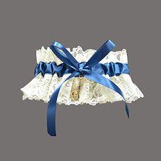 szép csipkés / szatén strasszos menyasszonyi harisnyakötő – USD $ 4.99
