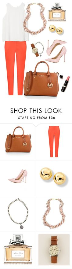 """Shades of pink"" by marijime on Polyvore featuring moda, MICHAEL Michael Kors, Andrea Marques, AX Paris, Tiffany & Co., Naomi Sarna, Christian Dior, J.Crew, WorkWear y Spring"