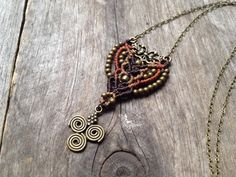 Micro macrame necklace custom order macrame pendant long chain antique bronze