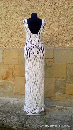 Crochet Wedding Dress White Lace Dress Wedding Woman by Etelina