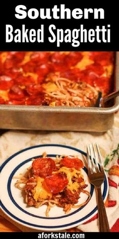 This Southern baked spaghetti recipe is unlike traditional Italian versions because there is no Mozzarella. Instead, layers of Monterey Jack cheese, cheddar cheese, and pepperoni are added in. The trio combination along with a HOMEMADE meat sauce creates an incredibly wicked good, cheesy spaghetti dish. Once you have tried my Southern Baked Spaghetti Recipe once, it will be a favorite choice to make again and again! #bakedspaghetti #spaghetticasserole #spaghetti