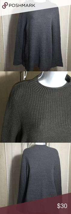 """Style & Co Funnel Neck Sweater Size L Plain knit pattern until you look at the sides, with a 1 1/2"""" diagonal strip running from the arm to the bottom band Straight hem, side slits Loose, slightly belled sleeves Color is Charcoal Heather NWT See materials and care on pictures. See measurements on pictures. Style & Co Sweaters Cowl & Turtlenecks"""
