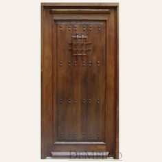 Our Puerta Santos are craftsman front doors made from mahogany. The natural movements are showcased in vertical planks, while clavos & grill bring texture. Craftsman Front Doors, Spanish Haciendas, Spanish Style Homes, Rustic Doors, House Inside, St Francis, Wood Planks, Exterior Doors, Locker Storage