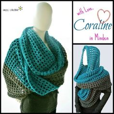 Coraline in Minden Oversized Cowl and Wrap free #crochet pattern by Celina Lane, Simply Collectible Uses @RedHeartYarns