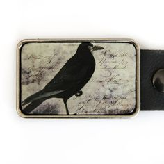 Raven Belt Buckle Vintage Illustration Bird Crow by piprobins Metal Buckles, Belt Buckles, Vintage Goth, Belts For Women, Crow, Raven, Bird, Black And White, Handwriting