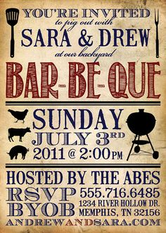 Custom DIY Printable Invitation  Barbeque by abeandemma on Etsy - fun for an engagement party, weekend wedding event or laid-back grooms dinner